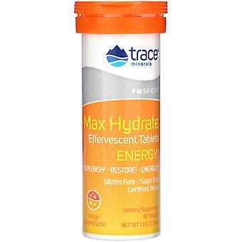 Trace Minerals Research, Max Hydrate Energy, Bruistabletten, Oranje, 1,55