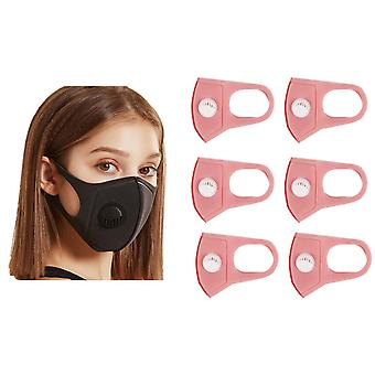 6x Face Mouth Mask with breathing valve, Pink, Washable Mouth Guard
