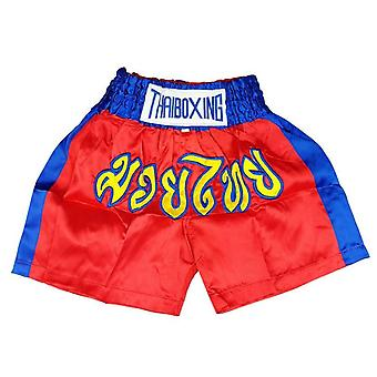 Adults Boxing Pants Satin Red Bluestrip