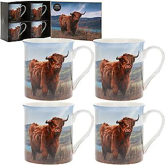Set Of 4 Fine China Highland Cow Design Coffee Mugs