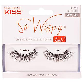 Kiss Lash Couture Reusable False Eyelashes - So Wispy 03 - Adhesive Included