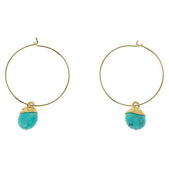 Gemshine örhängen turkos ädelsten droppe 925 silver eller guldpläterade hoop örhängen