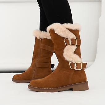 Hush Puppies Megan Dames Suede Mid Height Boots Tan