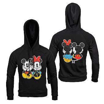 Disney Mickey and Minnie Mouse Front and Back Print Women's Fitted Hoodie