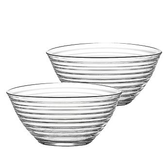 LAV Derin Glass Salad Bowl - 2 Litres - Pack of 2 Mixing Bowls / Serving Bowls for Pasta / Popcorn