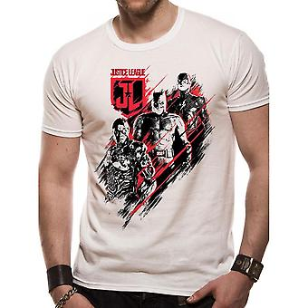 Justice League Unisex Adults Movie Distortion Design T-shirt