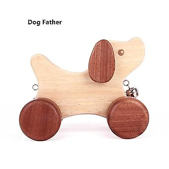 Wood Dog Family Rocking Horse, Cartoon Dogs, Hauling Car Play House Puzzle Toy