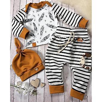 Newborn Kids / Clothes- Feather T Shirt, Tops, Strip Pants