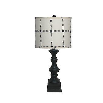 מנורת טבלה שחורה עם גוון לבן ושחור עם דוגמאות