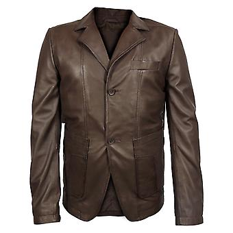 Macron mens new zealand leather blazer
