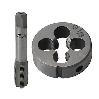 BSP G1/8 Main Tap Taper Drill Bits + Round Die Machine Thread Screw Die