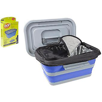 Summit Pop! 18L Folding Collapsible Cool Box Camping Food Container Cooler - Blue / Grey