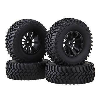 4xBlack Concave 10-Spoke Wheel Rim &100mm OD Rubber Tyre for RC1:10 Rock Crawler