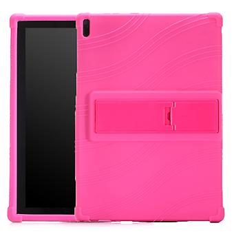 For Lenovo Tab E10 Tablet PC Silicone Protective Case with Invisible Bracket(Rose Red)