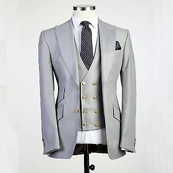 Wedding Groom Tuxedo Lapel Veste en ivoire ensemble avec pantalon Gilet hommes Costumes