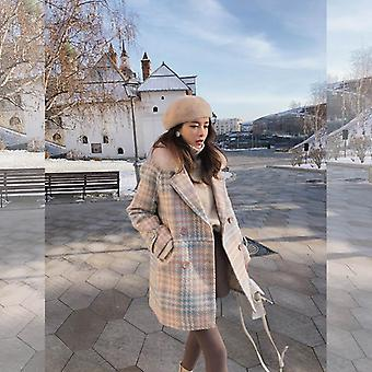 Women Outerwear Winter Warm Woolen Blends Elegant Double Breasted Coat
