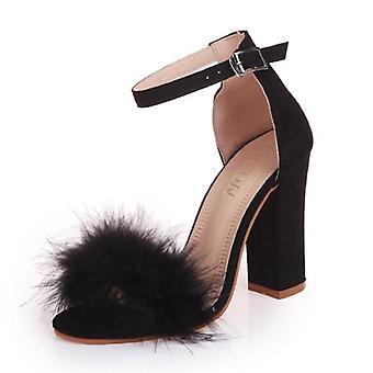 T-stage Fur Buckle Strap Platform Open Toe Dancing High Heel Sandals