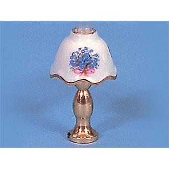 Dolls House Gold & White Forget Me Not Table Lamp 12v Electric Lighting