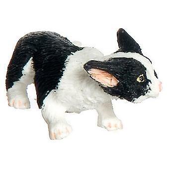 Poppen Huis Zwart & Witte kat Stalking Miniatuur 1:12 Schaal Huisdier Dier