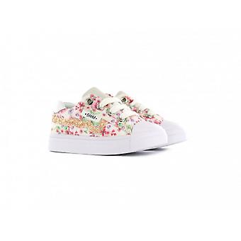 SHOESME Laced Zipped Trainer White Pink