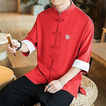 2020 New Chinese Style Mens Tops Tang Suit Linen Long Sleeve Solid Traditional