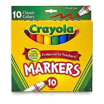 Marqueurs larges de ligne de Crayola, couleurs classiques 10 Ct.