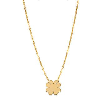 """14K Yellow Gold Mini Clover Pendant Necklace, 16"""" To 18"""" Adjustable"""