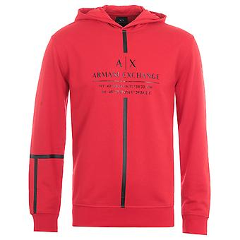 Armani Exchange Tape Logo Hooded Sweatshirt - Red