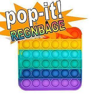 Pop It Fidget Toy Original - Rainbow Square - CE Godkendt