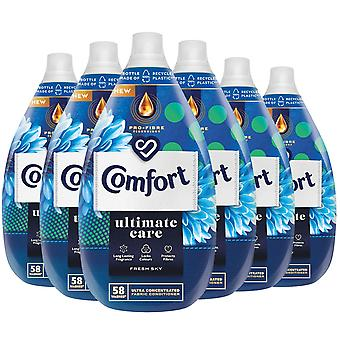 6x of 870ml Comfort Ultimate Care Fresh Sky Concentrated Fabric Conditioner 58W