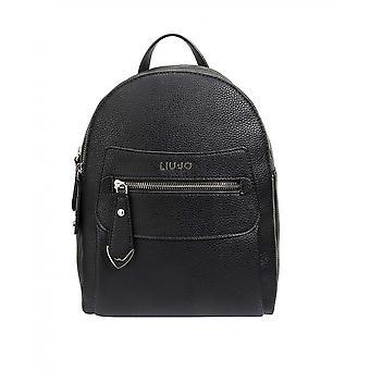 Liu-jo Backpack M In Black Faux Leather Woman Bs21lj54 Aa1105