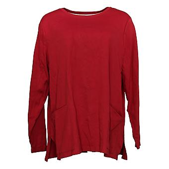 Isaac Mizrahi Live! Women's Top Long Sleeve With Pockets Red A387350