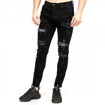 Amicci Lazio Skinny Fit Stretch Preto Denim Rip & Reparado Diamante Jeans