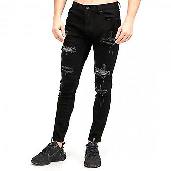 Amicci Lazio Skinny Fit Stretch Zwart Denim Rip & Gerepareerd Diamante Jeans