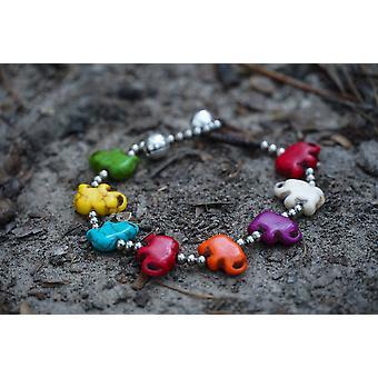 Silver Elephant Stone Bracelet