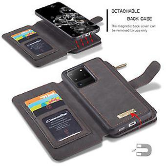 Samsung S20 Ultra Case Negro - 2 en 1 Zipper Wallet Case | compartimentos de almacenamiento | | magnética Kickstand