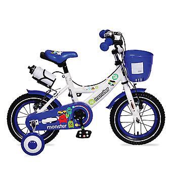 Bicicleta para niños Byox 12 pulgadas 1281 azul con ruedas de apoyo, cesta delantera, portavasos