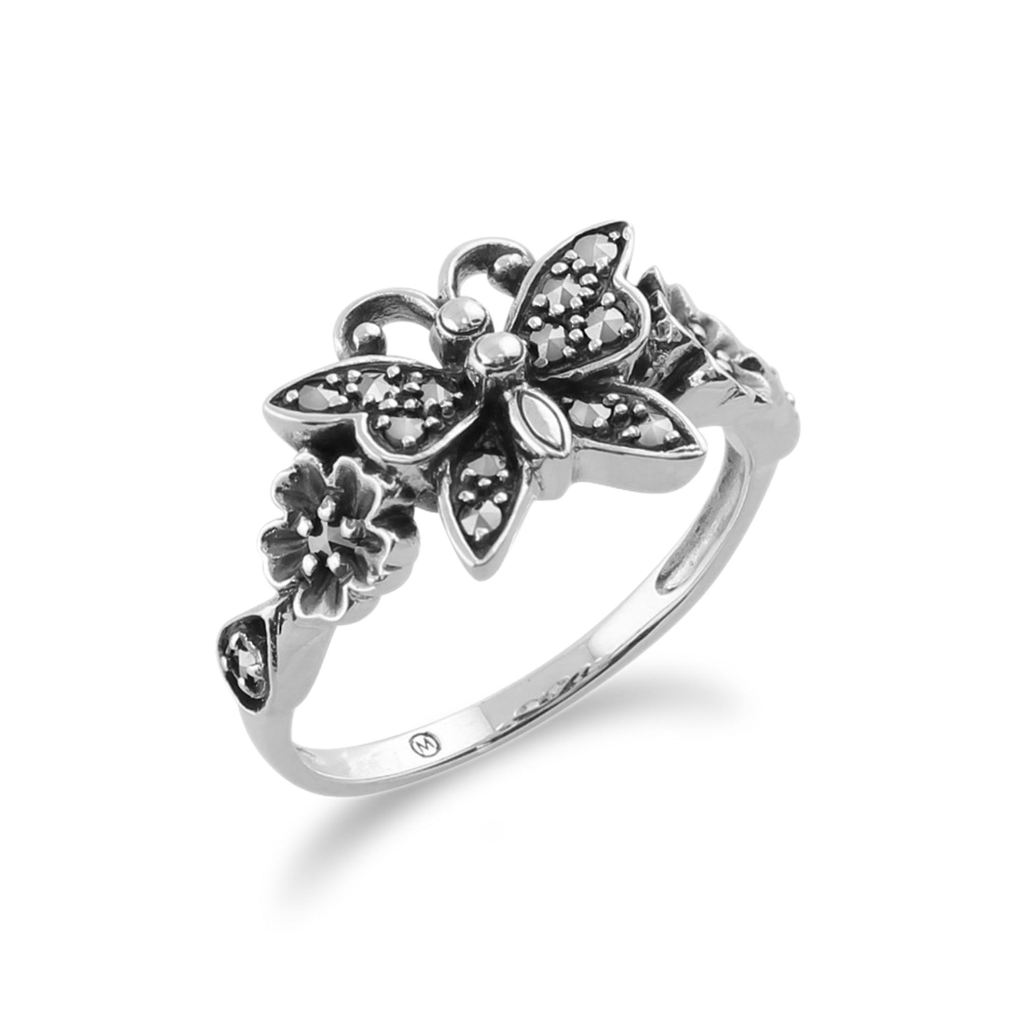 Sterling Silver 0.28ct Marcasite Victorian Style Butterfly Ring