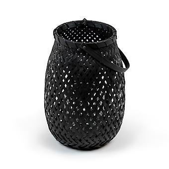 laterne 25 cm Bambus/Glas schwarz