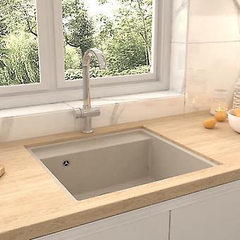 vidaXL kitchen sink with overflow beige granite