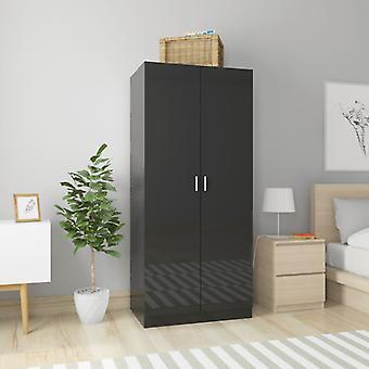 vidaXL armoire haute brillance-noir 80×52×180 cm panneau de particules