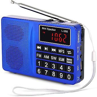 L-258SW Tragbares Radio mit SW/UKW FM/AM(MW)/SD/TF/USB(0-64 GB) MP3 Basslautsprecher (Keine manuelle