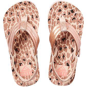 Reef Girls Kids Little AHI Summer Beach Pool Sandaler Stringtros Flip Flops - Cheetah