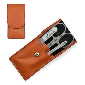 Hans Kniebes' Sonnenschein 3-piece Manicure Set in Nappa Leather Case, Made in Germany - Orange