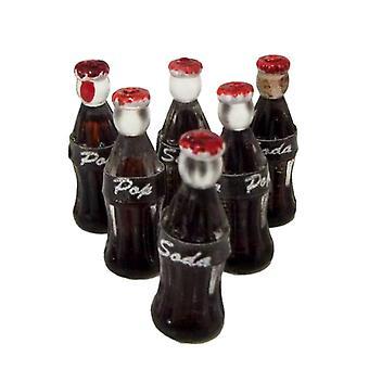Casa de muñecas miniatura 1:12 tienda Pub Café Bar Accesorio 6 Botellas Cola Pop Soda