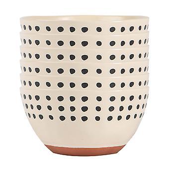 6x Keramik gefleckt Rim Getreide Schalen gemusterte Geschirr 15cm Monochrom