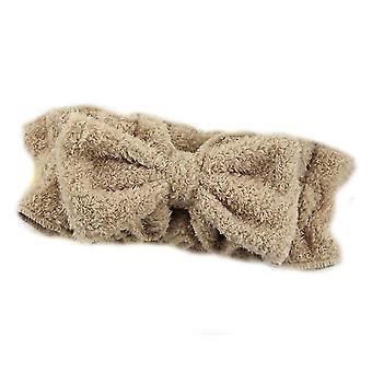 Brun bue hår band med pjusket elastik ansigt vask pandebånd x4738