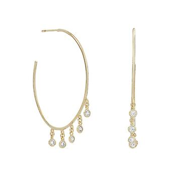 14k Gld Flashed 925 Sterling Silver Dangling CZ Hoops Post Back 3/4 Hoop Earrings 5 Individual 2.2mm Bez Jewelry Gifts f