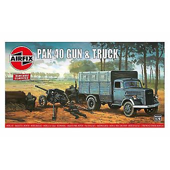 Pak 40ガン&トラック 1:76 ヴィンテージ クラシック ミリタリー エアフィックスモデルキット