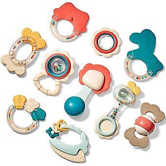 FengChun Rassel Beißring Set Baby Spielzeug ab 0 3 6 9 Monate 10 PCS Shaker Greifen Rassel Baby